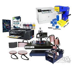 Kit Unica Master Top Transfer Master 8 Em 1 + Impressora á Laser + Prensa 8 em 1 + Impressora Sublimática