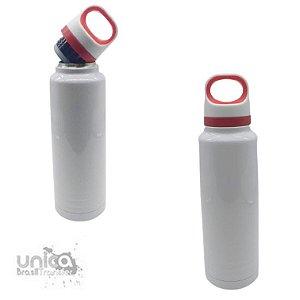 Garrafa Térmica Branca C/ Alça Vermelha 600 ml