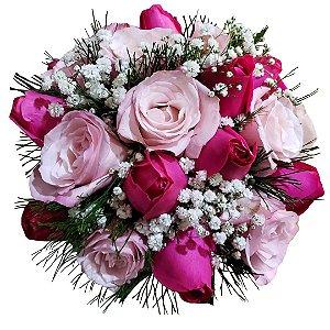 Buquê com Rosas Nacionais cor de Rosa e Pink
