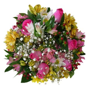Buque Com Rosas Cor de Rosa Nacionais, Astromélias e Flores nobres