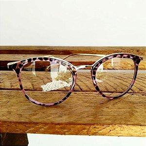 e059347d4 Óculos Receituário Arredondado - Rajado e Dourado - Ary Óculos e ...