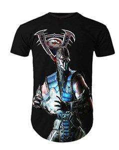 Camiseta Oversized Longline Mortal Kombat Sub Zero
