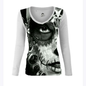 Camiseta Manga Longa Caveira Mexicana Olho de Gata