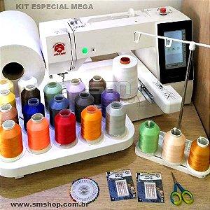 Máquina de Bordado Janome MC500E Área 20x28 cm com Kit Especial MEGA