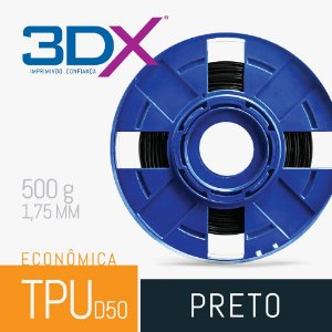 Filamento TPU Flexível 500g 1,75 Preto