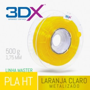 Filamento PLA HT 500g 1,75 Laranja Claro Metal