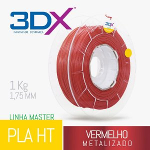 Filamento PLA HT 1kg 1,75 Vermelho Metal