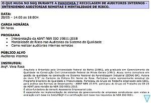 0320 O que muda no SGQ durante a Pandemia ? Reciclagem de Auditores Internos - Entendendo Auditorias Remotas e Mentalidade de Risco