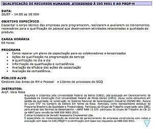 0720 Qualificação de Recursos Humanos  Atendendo a ISO 9001 e ao PBQP-H