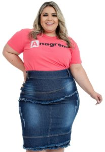 Saia Jeans Plus Size Moda Evangélica Anagrom Ref.10001