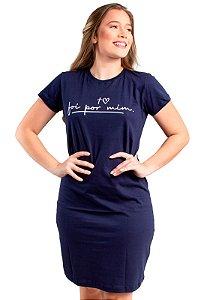 Vestido T-Shirt Malha Moda Evangélica Azul Anagrom Ref.V018