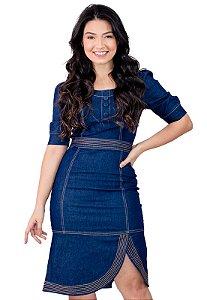 Vestido Jeans Manga Princesa Fenda Lateral Anagrom Ref.5020