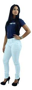 Calça Feminina Brim Branca Cintura Média Ref.1015