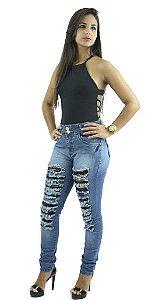 Calça Jeans Feminina Rasgada Azul Destroyer Ref.1002