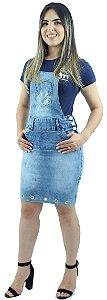 Jardineira Saia Jeans Feminina Azul Claro com Ilhoes Ref.4007
