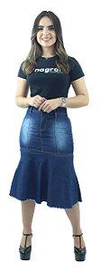 Saia Jeans Longuete com Babado Destroyer Ref.114