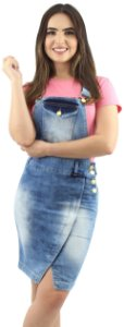 Jardineira Jeans Recorte Transpassado Foan Ref. 4014