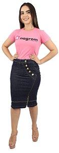 Saia Jeans Evangélica Recorte com 5 Botões Ref.133