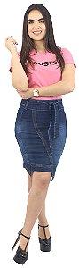 Saia Jeans Moda Evangélica de Laço Destroyed R.139