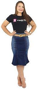 Saia Longuete Jeans Azul Pistolada Com Pregas Ref.151
