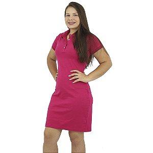 Vestido Gola Polo Malha Rosa Chiclete Anagrom Ref. 9007