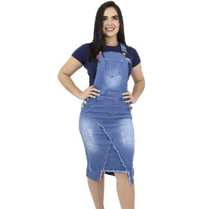 Jardineira Jeans Recorte Frontal Anagrom Ref.4032