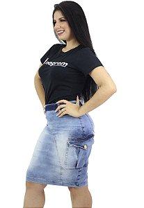 Saia Jeans Evangélica Bolso Quadrado Lateral Anagrom Ref.171