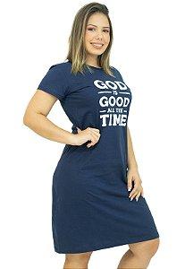 Vestido Malha T-Shirt Frases Azul Marinho Anagrom Ref.V001