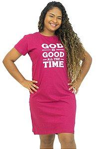 Vestido Algodão T-Shirt Frases Rosa Pink Anagrom Ref.V002