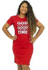 Vestido Vermelho T-Shirt Algodão Frases Anagrom Ref.V004