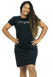 Vestido Moda Evangélica T-Shirt Malha Preto Anagrom Ref.V006
