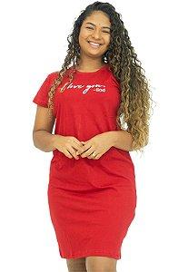 Vestido T-Shirt Vermelho 100% Algodão Anagrom Ref.V007