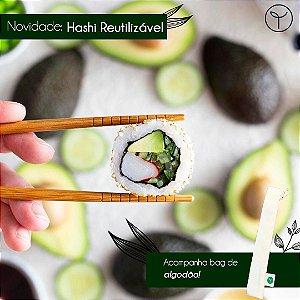 Hashi Reutilizável: 1 bag de algodão cru + 1 par de Hashi reutilizável; .