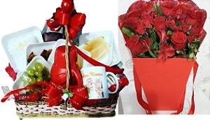 Cesta Café Com Box Luxo Rosas Vermelhas