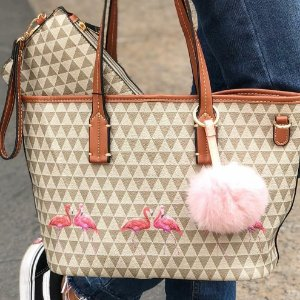 BOLSA SHOPBAG TRIANGLE COM FLAMINGOS | NUDE