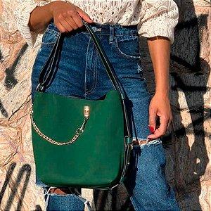 Bolsa Saco Helena feminina grande com correntes em camurça em várias cores