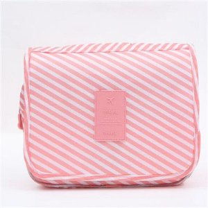 Bolsa necessaire organizadora de viagem com cabide rosa listrada