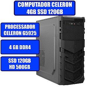 COMPUTADOR GENIOS HOME-OFFICE CELERON, 4GB, SSD 120GB, HD 500GB E WINDOWS 10