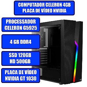 COMPUTADOR GENIOS GAMER CELERON, 4GB, SSD 120GB, HD 500GB, PLACA DE VÍDEO GT 1030 2GB E WINDOWS 10