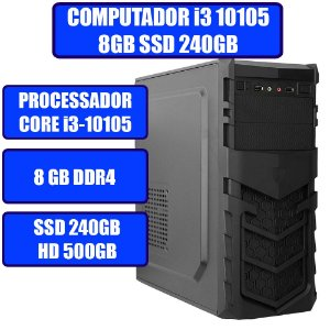 COMPUTADOR GENIOS HOME-OFFICE CORE I3-10105, 8GB, SSD 240GB, HD 500GB E WINDOWS 10