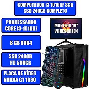COMPUTADOR GAMER GENIOS I3, 8GB, SSD 240GB, HD 500GB, PLACA DE VÍDEO GT 1030 2GB, TECLADO GAMER, MOUSE GAMER E WINDOWS 10