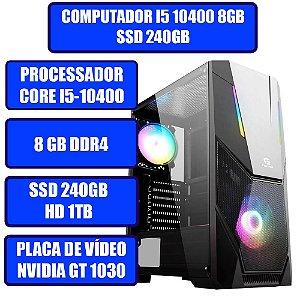 COMPUTADOR GAMER GENIOS I5, 8GB, SSD 240GB, HD 1TB, PLACA DE VÍDEO GT 1030 2GB E WINDOWS 10