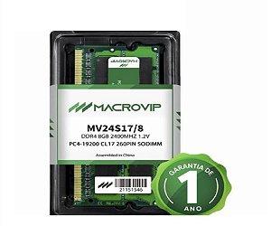 MEMORIA NOTEBOOK MACROVIP 8GB (1X8) DDR4 2400MHZ MV24S17/8
