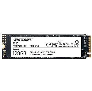 SSD Patriot P300, 128GB, M.2 2280 PCIe Gen3X4, Leitura 1600MB/s, Gravação 600MB/s, NANDXtend ECC, Preto - P300P128GM28