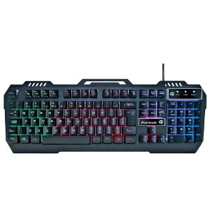 Teclado Gamer Fortrek Crusader, LED Rainbow, USB, ABNT2, Preto - 70528