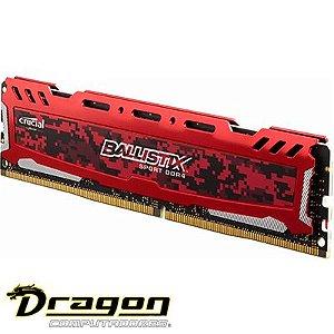 Memória Crucial Ballistix Sport LT 4GB 2400MHz DDR4 CL16 Vermelho BLS4G4D240FSE