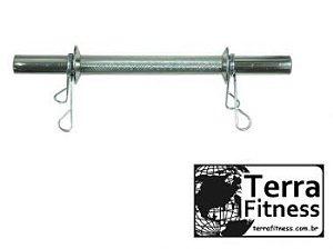 Barra maciça cromada 40cm + 2 presilhas - Terra Fitness