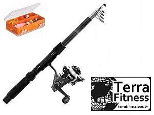 Kit Pesca - Vara de pescar 2m com molinete + acessórios - Terra Fitness