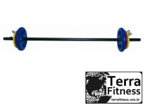 Kit barra Pump 16kg emborrachado - Terra Fitness
