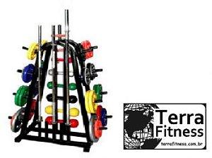 Suporte expositor 3x1 barra, anilha e halter - Terra Fitness